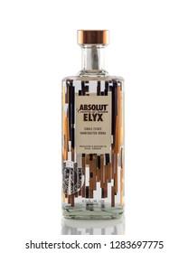 Prague, Czech republic November 13, 2018:  Bottle of Swedish vodka Absolut  ELYX, Produced by Vin & Sprit.
