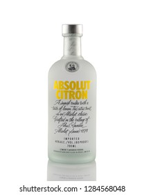 Prague, Czech republic November 13, 2018:  Bottle of Swedish vodka Absolut Citron, Produced by Vin & Sprit.