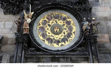 PRAGUE, CZECH REPUBLIC-  NOVEMBER 13, 2014: Astronomical clock in Prague, Czech republic