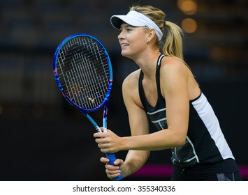 PRAGUE, CZECH REPUBLIC - NOVEMBER 13 : Maria Sharapova during practice at the 2015 Fed Cup Final
