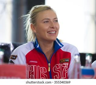PRAGUE, CZECH REPUBLIC - NOVEMBER 13 : Maria Sharapova at the 2015 Fed Cup Final draw ceremony