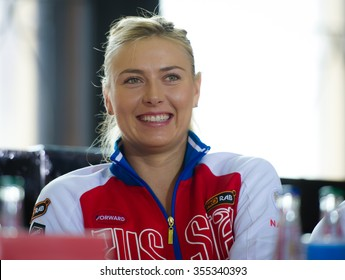 PRAGUE, CZECH REPUBLIC - NOVEMBER 13 : Maria Sharapova at the 2015 Fed Cup Final draw ceremony