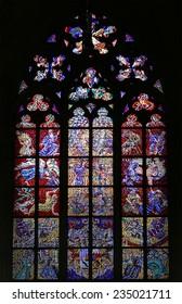 PRAGUE, CZECH REPUBLIC-  NOVEMBER 14, 2014: Art Nouveau painter Alfons Mucha Stained Glass window in St. Vitus Cathedral, Prague, Czech Republic