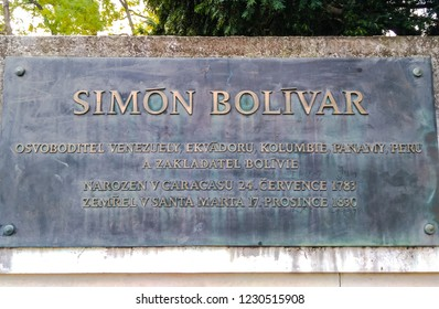 Prague, Czech Republic November 15, 2018 - Memorial plaque at the monumet Simon Bolevar in Prague