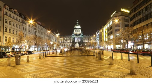 PRAGUE, CZECH REPUBLIC-  NOVEMBER 15, 2014: Night view of Wenceslas Square in the New Town of Prague, Czech Republic