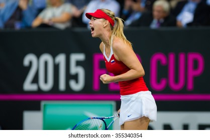 PRAGUE, CZECH REPUBLIC - NOVEMBER 15 : Maria Sharapova in action at the 2015 Fed Cup Final