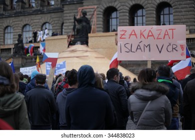 PRAGUE, CZECH REPUBLIC - NOVEMBER 17, 2015: Demonstration against Islam, immigrants and refugees in Prague, Wenceslas Square with people, banner to ban Islam in the Czech Republic, Europe, EU
