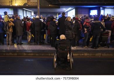Prague, Czech Republic - November  17, 2017: Narodni street during the 28th anniversary of the Velvet Revolution in Prague, Czech Republic, 17 November 2017.