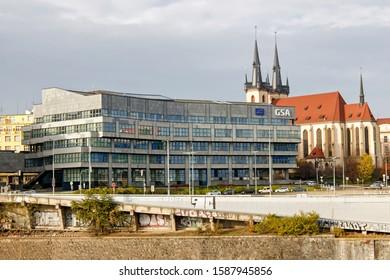 PRAGUE, CZECH REPUBLIC - NOVEMBER 17th 2019: Headquarters of European Global Navigation Satellite Systems Agency (GSA) at the bank of Vltava river.