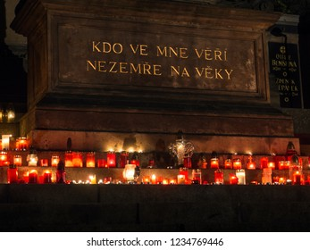 PRAGUE, CZECH REPUBLIC - NOVEMBER 2, 2017: Vysehrad cemetery on the grounds of Vysehrad fort. Pictured central part of the cemetery - Slavin.