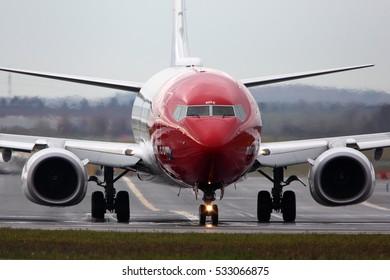 PRAGUE, CZECH REPUBLIC - NOVEMBER 2, 2012: Boeing 737-8JP LN-NOZ of Norwegian Air Shuttle taxiing at Ruzyne international airport.