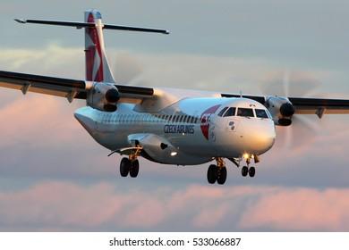 PRAGUE, CZECH REPUBLIC - NOVEMBER 2, 2012: ATR 72-500 F-GRPK of CSA Czech airlines landing at Ruzyne international airport.