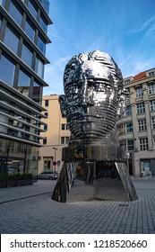 PRAGUE, CZECH REPUBLIC - NOVEMBER 20, 2016: Monument of Franz Kafka in form of gigantic inox head with rotating segments, impressive artwork of Czech artist David Cerny, installed in 2014.