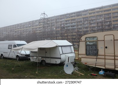 PRAGUE, CZECH REPUBLIC - NOVEMBER 20, 2011: Travel trailers commonly known as caravans parked in the outskirts in Prague, Czech Republic.