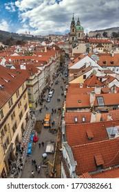 PRAGUE, CZECH REPUBLIC - NOVEMBER, 2019: Prague red rooftops view in Old Town