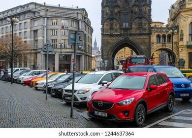 Prague, Czech Republic - November, 22, 2018: cars on a parking in Prague