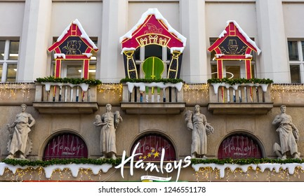 Prague, Czech Republic- November 27, 2018: The shop façade of Hamley's toy store, bedecked with illuminated decorations for Christmas. Wenceslas Square.