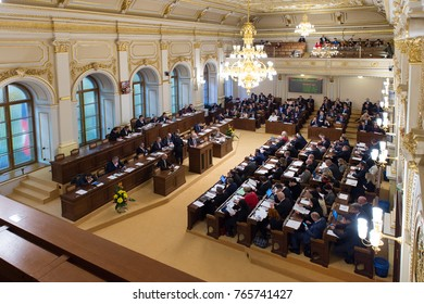 PRAGUE, CZECH REPUBLIC - NOVEMBER 28, 2017: Chamber of Deputies of Parliament of Czech republic during meeting in Prague, Czech republic, November 28, 2017.