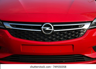 PRAGUE, CZECH REPUBLIC - NOVEMBER 5: Opel company logo on car in front of dealership on November 5, 2017 in Prague. PSA Group plans to cut number of models and rein in discounts at its Opel division.