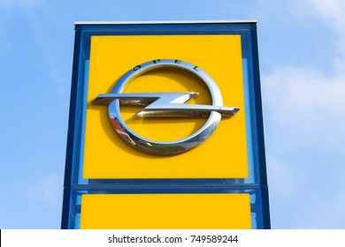 PRAGUE, CZECH REPUBLIC - NOVEMBER 5: Opel company logo in front of dealership on November 5, 2017 in Prague. PSA Group plans to cut the number of models and rein in discounts at its Opel division.