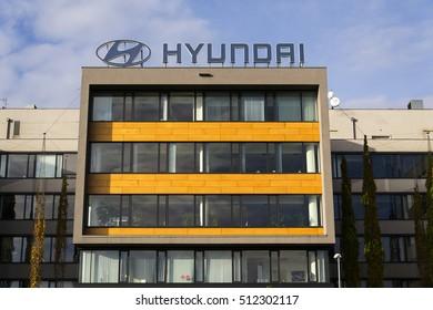 PRAGUE, CZECH REPUBLIC - NOVEMBER 7: Hyundai company logo on headquarters on November 7, 2016 in Prague, Czech republic. Hyundai will showcase self-driving car at the CES 2017 event in Las Vegas.