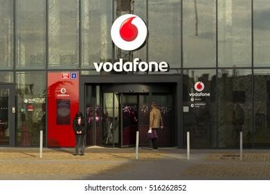 PRAGUE, CZECH REPUBLIC - NOVEMBER 7: Vodafone telecommunications company logo on Czech headquarters on November 7, 2016 in Prague, Czech republic.