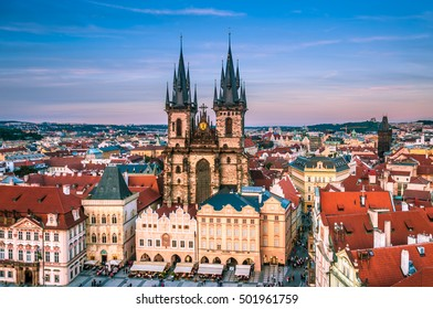 PRAGUE, CZECH REPUBLIC, OCT 29, 2016: The Church of Our Lady Before Tyn and Staremestska Square, aerial view, Prague, Old town.
