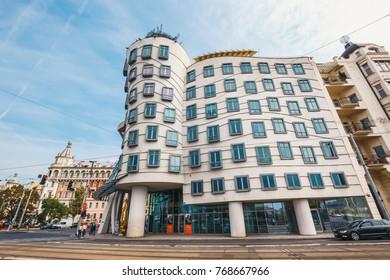 Prague, Czech Republic, October 01, 2017: Dancing House - modern building designed by Vlado Milunic and Frank O. Gehry, Prague