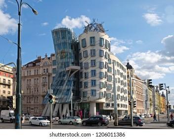 PRAGUE, CZECH REPUBLIC - OCTOBER 03, 2018:  Dancing house in the style of deconstruction on the Vltava Embankment in Prague