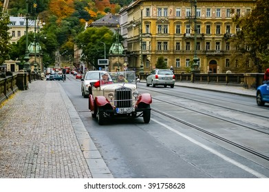 PRAGUE, CZECH REPUBLIC - OCTOBER 06: Retro tourist car on the road at October 06, 2008 in Prague, Czech Republic