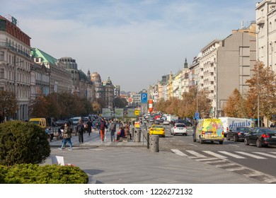 PRAGUE, CZECH REPUBLIC - OCTOBER 09, 2018: Wenceslas Square. View of the restored and updated national museum