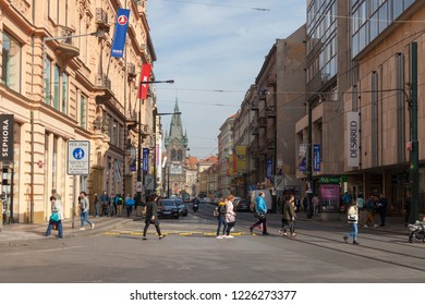 PRAGUE, CZECH REPUBLIC - OCTOBER 09, 2018: Wenceslas Square. View of the Henry's Tower
