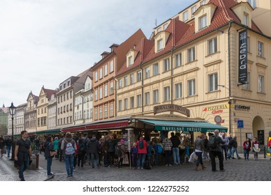 PRAGUE, CZECH REPUBLIC - OCTOBER 09, 2018: Havelsky souvenir market