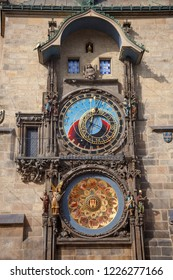 PRAGUE, CZECH REPUBLIC - OCTOBER 09, 2018: Old Town Square, Town Hall and Astronomical Clock