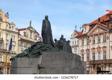 PRAGUE, CZECH REPUBLIC - OCTOBER 09, 2018: Monument to Jan Hus on Old Town Square