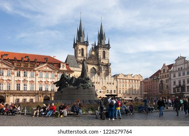 PRAGUE, CZECH REPUBLIC - OCTOBER 09, 2018: Church of Our Lady before Tyn (Tyn Church)