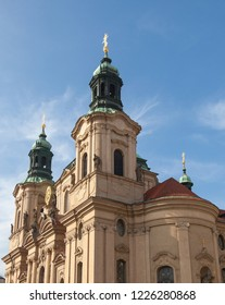 PRAGUE, CZECH REPUBLIC - OCTOBER 09, 2018: The Church of St. Nicholas on Old Town Square