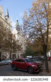 PRAGUE, CZECH REPUBLIC - OCTOBER 09, 2018: The beginning of the Paris (Parizska) street from the Old Town Square