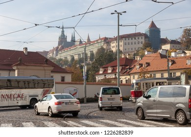 PRAGUE, CZECH REPUBLIC - OCTOBER 09, 2018: View of Prague Castle from the side of the Chekhov Bridge.
