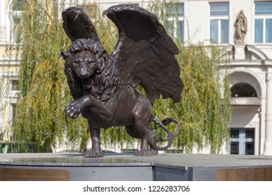 PRAGUE, CZECH REPUBLIC - OCTOBER 09, 2018: Winged Lion in Prague. Monument to military pilots of Czechoslovakia who fought during the Second World War