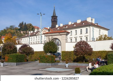 PRAGUE, CZECH REPUBLIC - OCTOBER 09, 2018: View of the Library of the Czech Geological Survey on Malostranskaya Square