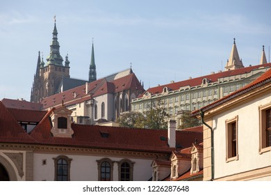 PRAGUE, CZECH REPUBLIC - OCTOBER 09, 2018: Beautiful views of the Wallenstein Gardens Park. View of Prague Castle and St. Vitus Cathedral