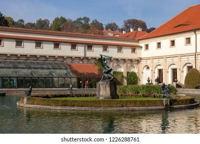 PRAGUE, CZECH REPUBLIC - OCTOBER 09, 2018: Beautiful views of the Wallenstein Gardens Park. View of the courtyard.