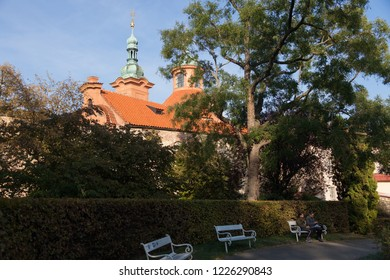 PRAGUE, CZECH REPUBLIC - OCTOBER 09, 2018: St. Lawrence Cathedral on Petrshin Hill.