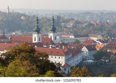 PRAGUE, CZECH REPUBLIC - OCTOBER 09, 2018: View of the Strahov Monastery and Prague Castle from the Petrin Tower.