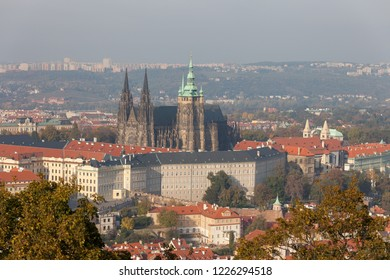 PRAGUE, CZECH REPUBLIC - OCTOBER 09, 2018: View of St. Vitus Cathedral and Prague Castle from the Petrin Tower.