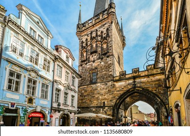Prague, Czech Republic - October 1 2017: Hordes of tourists on the path of the Kings to the Prague Castle Complex taken from the lesser tower on Charles Bridge