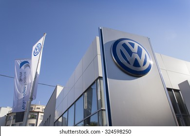 PRAGUE, CZECH REPUBLIC - OCTOBER 1: Volkswagen car maker logo on a building of dealership on October 1, 2015 in Prague, Czech republic.