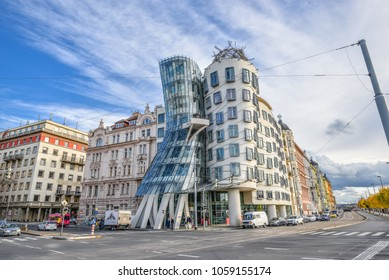 Prague, Czech Republic - October 10, 2017: Dramatic view on modern building Dancing House or Fred and Ginger.  Nationale-Nederlanden building on the  (Ran Embankment) in Prague, Czech Republic