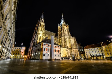 Prague, Czech Republic - October 10, 2017: Night view on illumanated Saints Vitus Cathedral and Prague Castle , Prague, Czech Republic